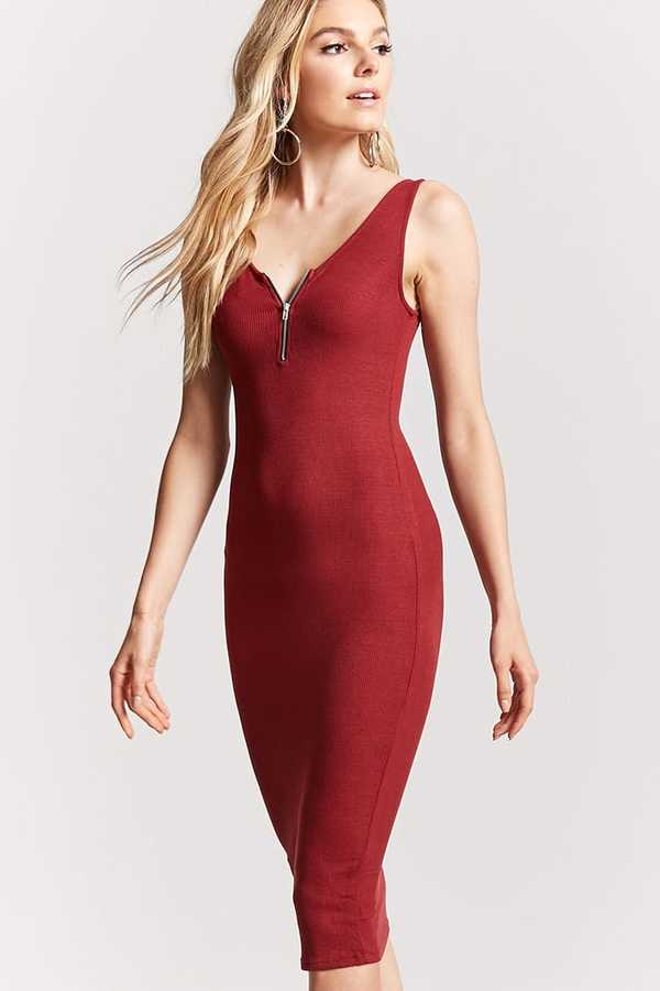 FOREVER 21 Zip-Front Bodycon Dress