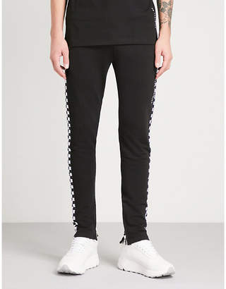 Criminal Damage Chequer cotton-jersey jogging bottoms