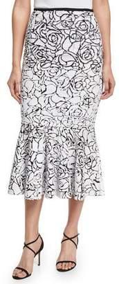 Michael Kors Rose Paillettes Trumpet Skirt, Black/White