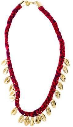 Tory Burch Puka Shell Woven Charm Short Necklace