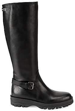 Prada Women's Knee-High Leather Moto Boots