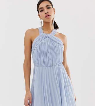Asos Design DESIGN pleated bodice halter mini dress