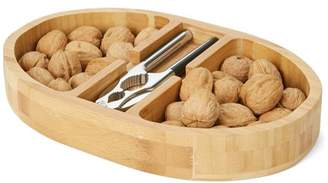 Mind Reader Nut Cracker Bowl Set with Stainless Steel Metal Nut Cracker, Brown