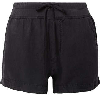 James Perse Lyocell And Linen-blend Shorts - Black