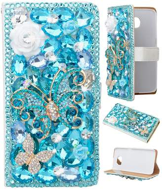 Spritech(TM) PU Leather Bling Phone Case for Edition,Handmade Blue Crystal Flower Two Butteflies Accessary Design Stand Folding with Card Slot Cellphone Cover