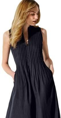 Silk Road Original V Neck Pleated Sleeveless Dress 610175