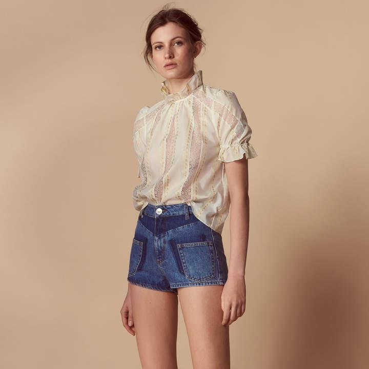 Denim shorts with visible pockets
