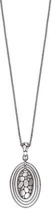 John Hardy Kali Zen Long Silver Oval Drop Pendant Necklace