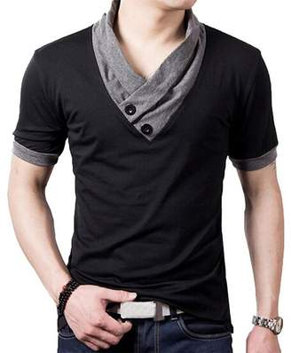 93c7ff58 YTD 100% Cotton Mens Casual V-Neck Button Slim Muscle Tops Tee Short Sleeve