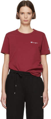 Champion Reverse Weave Burgundy Small Script Logo T-Shirt