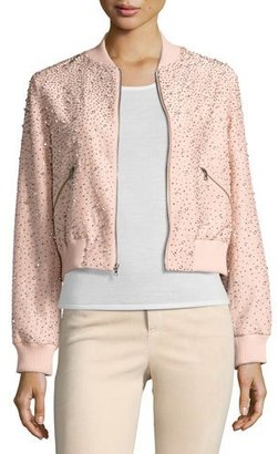 Alice + Olivia Demia Embellished Silk Cropped Bomber Jacket, Light Pink $695 thestylecure.com