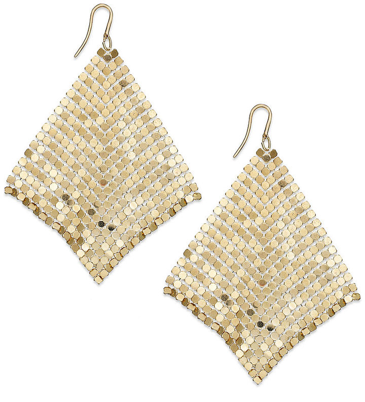 Alfani Earrings, Gold-tone Mesh Drop Earrings