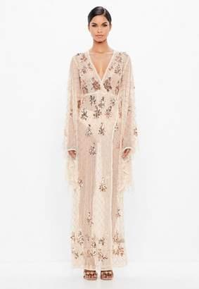 Missguided Nude Kimono Sleeve Embellished Maxi Dress