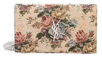 Saint Laurent Monogram Bouquet Tapestry Wallet On Chain