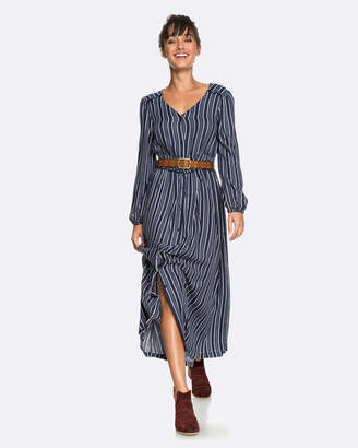 Roxy Womens Subway Atmosphere Long Sleeved Striped Maxi Dress