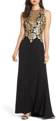Tadashi Shoji Sleeveless Sequin & Crepe Gown