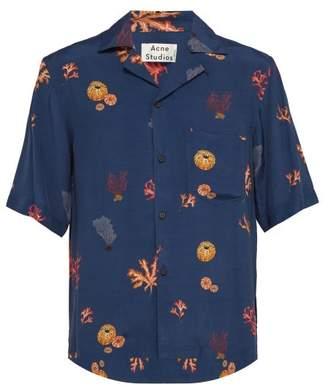 Acne Studios Coral Print Satin Shirt - Mens - Dark Blue