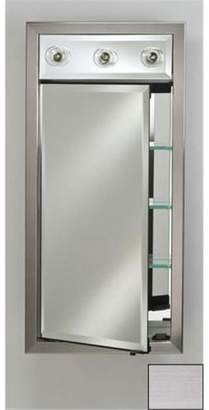 Afina Corporation SD-LC2030RSOHST 20 in.x 30 in.Recessed Single Door Cabinet with Contemporary Lights - Soho Stainless