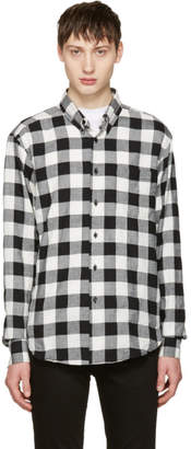 Naked and Famous Denim Black and White Herringbone Buffalo Check Shirt