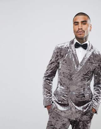 Asos DESIGN Super Skinny Double Breasted Tuxedo Jacket In Gray Crushed Velvet