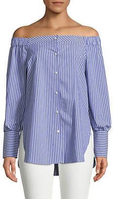 Tommy Hilfiger Striped Off-The-Shoulder Button-Down Shirt