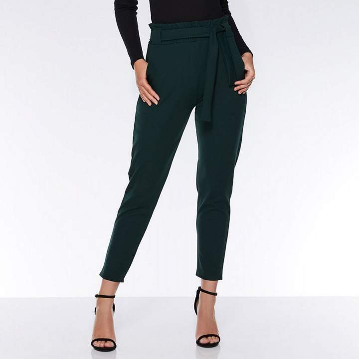 Bottle Green Crepe Paper Bag Trousers