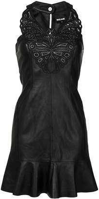 Just Cavalli embroidered neckline leather mini dress