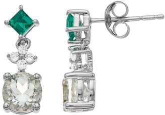 Unbranded Sterling Silver Lab-Created Emerald & Green Quartz Drop Earrings