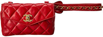 Chanel Red Quilted Lambskin Leather Envelope Belt Bag