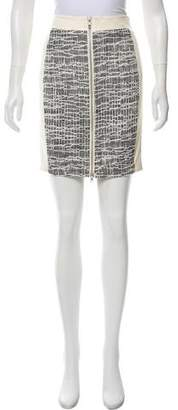Ramy Brook Leather-Paneled Tweed Skirt