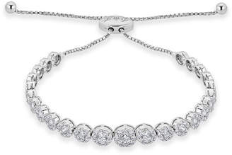 Neiman Marcus Diamonds 14k White Gold Adjustable Flower Diamond Bracelet, 3.25tcw