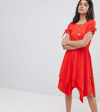 Asos Tall TALL Hanky Hem Midi Skater Dress with Ruched Sleeve