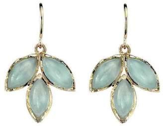 Irene Neuwirth Triple Aquamarine Leaf Earrings - Yellow Gold