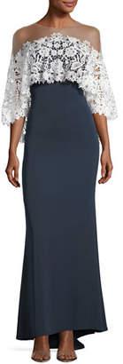 Tadashi Shoji Lace Ruffle Overlay Illusion Gown