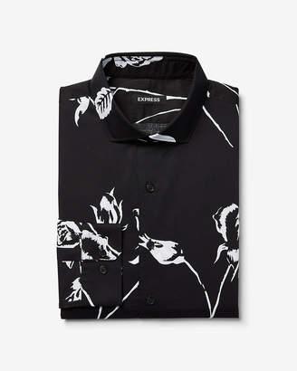 Express Slim Large Floral Pattern Dress Shirt