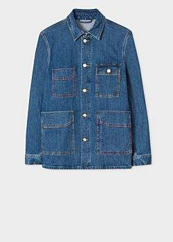 Paul Smith Men's Mid-Wash 'Vintage Stretch' Denim Chore Jacket