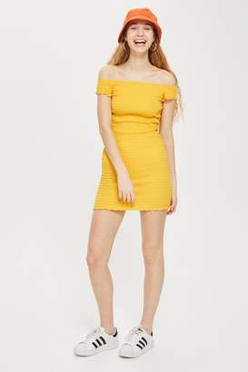 Topshop Womens Shirred Bodycon Mini Dress - Yellow