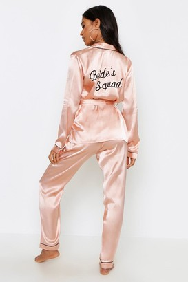 boohoo Brides Sqaud Wrap Front PJ Set