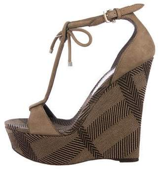Burberry Smoked Check Suede Wedges