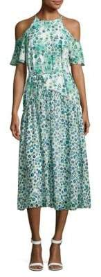 Donna Morgan Floral-Print Cold-Shoulder Dress