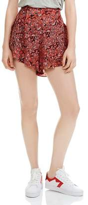 Maje Imona Flounced Leopard-Print Shorts
