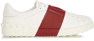 VALENTINO Open bi-colour low-top leather trainers $489 thestylecure.com