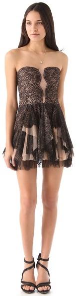 Bcbgmaxazria Norelle Strapless Scallop Lace Dress