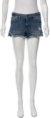 Frame Mid-Rise Distressed Shorts