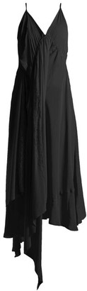 Balenciaga Draped Silk Crepe Slip Dress - Womens - Black