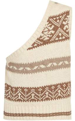SASQUATCHfabrix. Nordic Knit One Shoulder Sleeveless Sweater - Mens - Multi