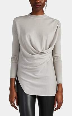 Rick Owens Women's Virgin Wool Drape-Front Sweater - Light Gray