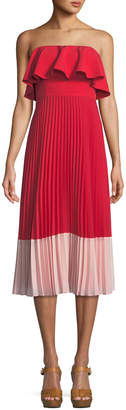 Aidan Mattox Strapless Colorblock Popover Pleated Crepe Dress