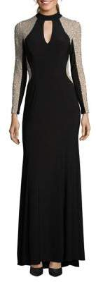 Xscape Evenings Long Beaded Fit-&-Flare Dress