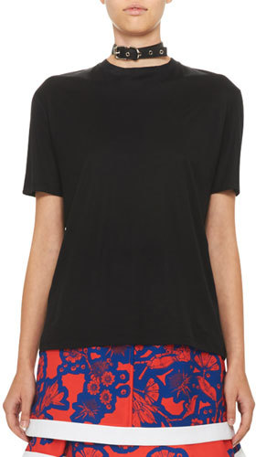 Carven Carven Short-Sleeve Collared Jersey Tee, Black